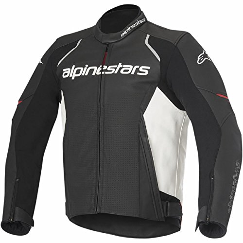 Alpinestars Men's Devon Airflow Leather Motorcycle Jacket, Black/White, 54