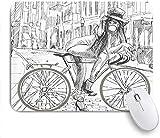 Mauspad fahrrad sexy outrageous young lady kaugummi auf ihrem fahrrad in der straße sketchy illustration customized mousepad rutschfeste gummibasis für computer laptop schreibtisch schreibtischzubehör