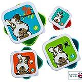 TUM TUM Anidando ollas de merienda para niños, cajas de aperitivos para niños, juego de cajas de aperitivos para niños, BPA gratis (Perro)