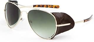 Retro Aviator Sunglasses w/Faux Leather Side Shields