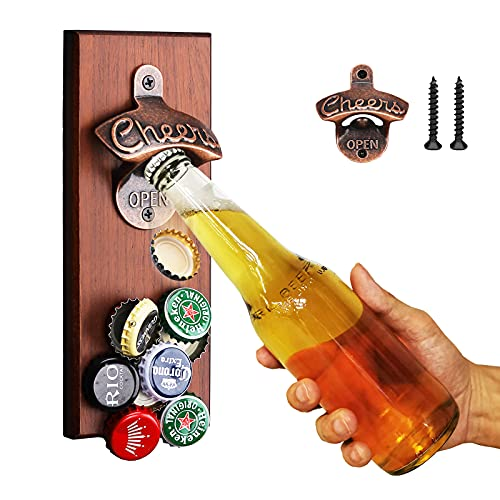 Wall Mounted Magnetic Bottle Opener, Beer Bottle Opener with Cap Auto-Catch Beer Unique Gifts for Dad Him Men Boyfriend Husand Grandpa Uncle and Beer Lovers, Cool Gadget Perfect for Kitchen, Bar, Yard