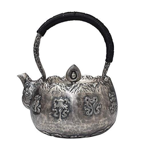 CRTTRC Hecho a Mano Kung Fu Juego de té de Plata práctico Olla de Cocina Tetera de Plata Caldera Caldera de pie de Plata