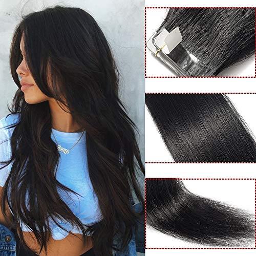 Tape Extensions Echthaar 100g Haarverlängerung 100% Echthaar Extensions Tape In 40 Tressen Glatt Schwarz #01 (22zoll-55cm)