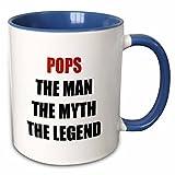 3dRose Pops The Man The Myth The Legend Mug, 11 oz, Blue