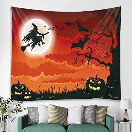 Tapiz de Halloween para decoración de farol de calabaza de terror, tapiz hippie, decoración de dormitorio (tamaño: 150 x 100 cm; color: bruja y murciélago)