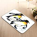 YILINGER Rectangle Non-Slip Rubber Mat(23.6'x15.7',L x W) Emperor Penguin Set Watercolor Emperor Penguin Watercolor Wild Polar Animal Character