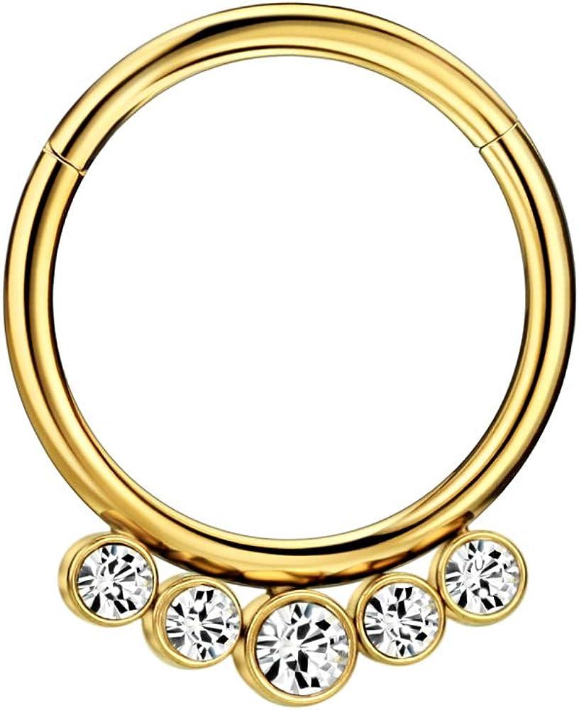 FANSING 316L Surgical Steel Nose Rings 16 Gauge Nose Ring Hoop Earrings for Women 5 Crystals Septum Jewelry 10mm Septum Ring Seamless Septum Clicker 10mm Cartilage Earring Hoop