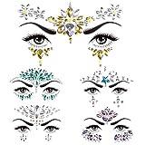 SenPuSi Face Gem Stickers, Konsait 5 piezas Etiqueta engomada de diamantes de imitación Cara Joyas Pegatinas cara cristal Tatuajes Temporales Maquillaje Festival Fiesta