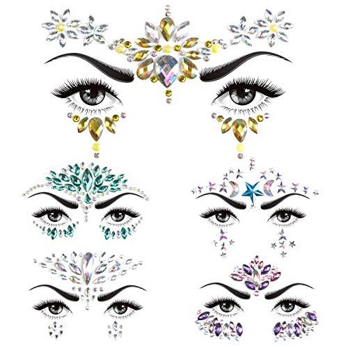 Gesicht Edelsteine 5 Sätze, Strass Rave Festival Gesicht Juwelen Temporäre Tattoos, Kristalle Strasssteine Gesicht Aufkleber Augenbraue Gesicht Körperschmuck