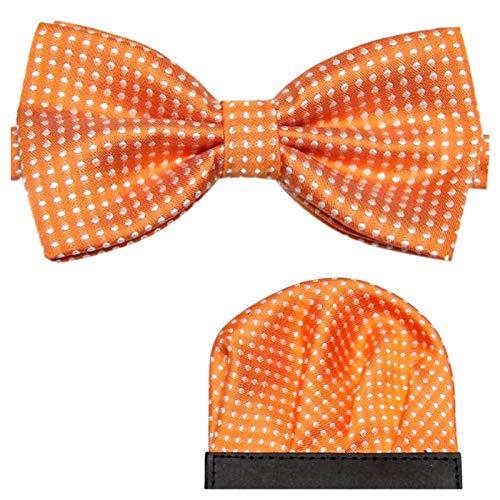 GASSANI 2Tlg Fliegenset Gepunktet, Orangene Pünktchen Herren-Fliege, Polka Dots Hochzeitsfliege Anzug-Schleife Vor-Gebunden Ein-Stecktuch Vorgefaltet