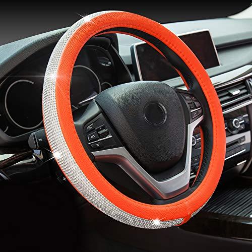 ChuLian Bling Diamond Car Steering Wheel Cover with Crystal Rhinestones Universal 15 Inch for Fusion Focus HRV Corolla Prius Rav4 Tacoma Camry Orange