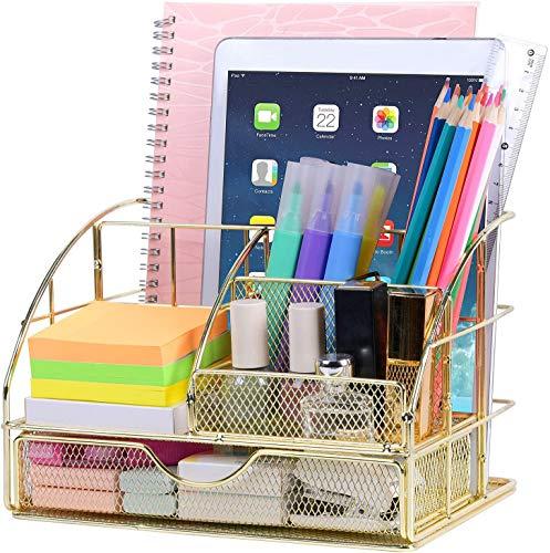 POPRUN Schreibtisch OrganizerTischorganizer mit Stiftablagen/Stifthalter und Schublade Utensilienschalen aus Metall Netz Gold