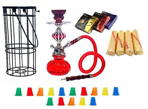 Zebra Smoke Series: 11' 1 Hose Pumpkin Hookah with Cage- Complete Set- Combo KIT SET w/ Instant Charcoal (Like Three Kings Charcoal), Hydro Herbal Molasses(like Blue Mist), and Hookah Mouth Tips (Pick Your Color) (Red)