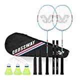 Crossway Sports 2 Player Badminton Rackets Carbon Fiber Composite Including Carry Bag and Grip...