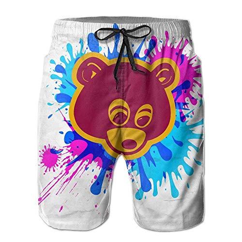 DLing Mary J. Johnson Badehose Kanye West Bär Quick Dry Beach Board Shorts Hosen für Männer Jungen,XXL
