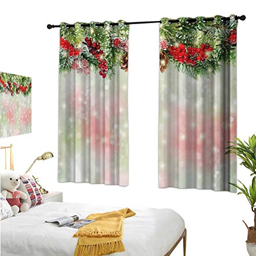 Mozenou Christmas,Bathroom Curtains,Evergreen Fir Branches with Red Ripe Holly Berries Blurred Backdrop Garland Red Green Brown,Suitable for Any Room scene52x63 Inch