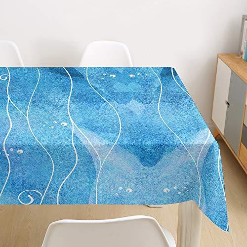 Oduo Mantel Impermeable Antimanchas Tela de Poliéster, Decoración Resistente Al Desgaste Lavable Apto, Distintos Diseños y Tamaños a Elegir, Patrón Abstracto (Acuarela Azul,90x90cm)