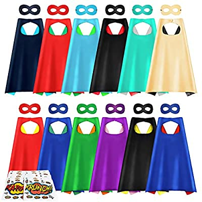 Superhero Capes and Masks, 12Pack DIY Dress Up Cape for Kids, Dual Color Costume