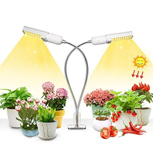 50W Lampada per Piante, Upgrade Grow Light Full Spectrum, 2 Pack Grow Bulbs, Lampada da coltivazione e doppia testa con bulbo sostituibile E27 E26 per semina, crescita, fioritura e fruttificazione