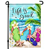 Home4Ever Summer Garden Flag - 12.5 x 18 Inch Double-Sided Hello Summer Printed Outdoor Yard Art Decor - Premium Seasonal Welcome Banner for House Porch, Lawn, Patio, Yard - Suits Standard Stands