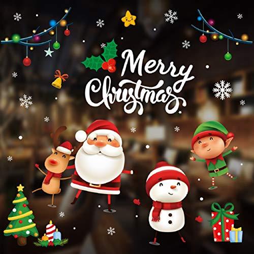 Tuopuda Natale Vetrofanie Finestra Sticker Addobbi Adesivi per Finestre Fai Da Te Murali da Parete Decorazione Babbo Natale Statico Adesivi per Casa Negozi Finestra Vetrina Porta Sticker (Buon Natale)