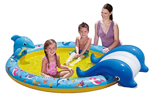 Banzai 01428 - Piscina Slide N' Splash Whale Pool, con scivolo a forma di balena, unisex bambino