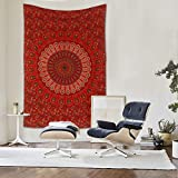 Raajsee Indisch Psychedelic Mandala Rot Wandteppich / Indien Baumwolle Elefant Boho Wandtuch Hippie Wandbehang 54x82 Inches