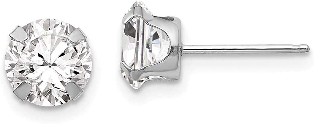14k White Gold 6.5mm Cubic Zirconia Cz Post Stud Earrings Fine Jewelry For Women Gifts For Her