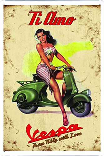 "Vespa Scooter From Italy With Love 7.8""x11.8"" Tin Poster Metal Plate Wall Decor by Abstract Sign"