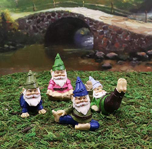 Ebros Whimsical Fairy Garden Multi Poses Yoga Gnome Small Miniature Figurines Set of 4 DIY Mr Gnomes Fantasy Collection Statue Home Decor for Terrariums Mini Planters or Gardens Shelf Sitters