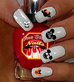 Mickey and Minnie Halloween V1 clear waterslide nail art decals (tattoos). Set of 57 by One Stop Nails.