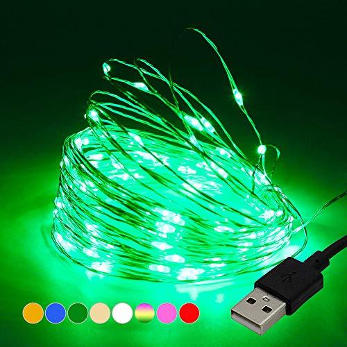 10 M 100 lampjes LED koperdraad lichtslingers, USB kerstverlichting, kerstboomverlichting-groen