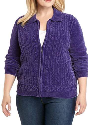 Alfred Dunner Women s 2019 Classics Textured Chenille Zip Up Cardigan 1X Purple product image