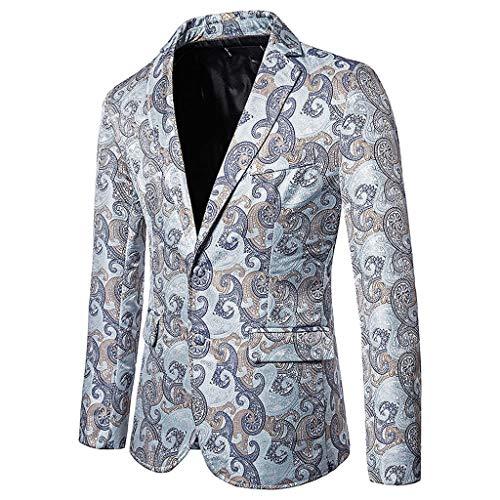 KPILP Sakkos Slim Fit Herren Business Hochzeit Jacquard Blazer Anzugjacke Smokings Elegant Blume Print Bankett Blazer Anzug Outwear Abend Revers Jacke