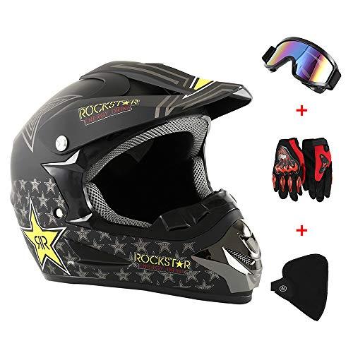 Dightyoho Casco para Motocross, 4pcs Juego de Casco de Moto + Gafas + Guantes de Motocicleta + Mascarilla, para Hombre Mujer, 34 * 25cm (Rockstar)