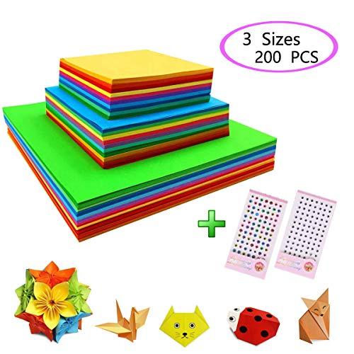 Brands Carta per Origami,Carta Pieghevole 200 Fogli Colore a Due Lati,4 Misure,Superior Double-Face,Doppia Faccia Colorata Origami per Bambini Progetti Artistici e DIY Artigianato