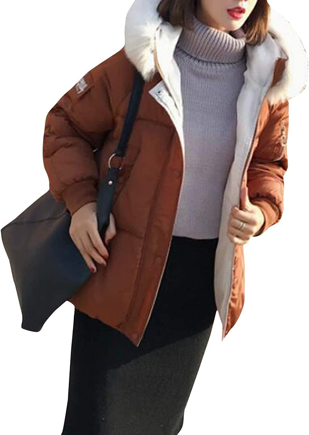 Macondoo Women's CottonPadded Faux Fur Collar Hoodie Thick Outerwear Parkas Coats