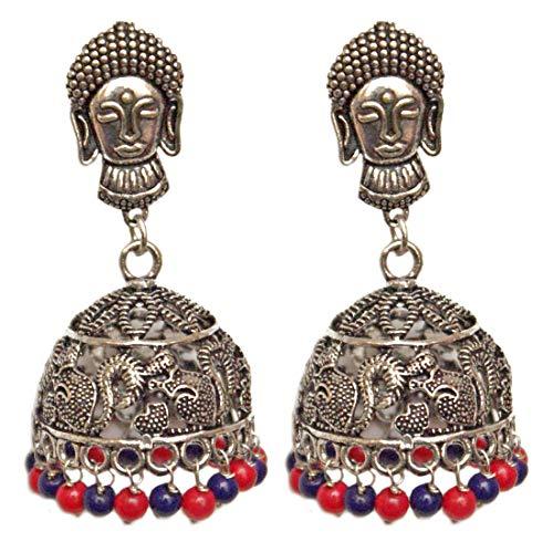 Pahal - Juego de joyas de boda india con diseño de buda, color rojo y azul