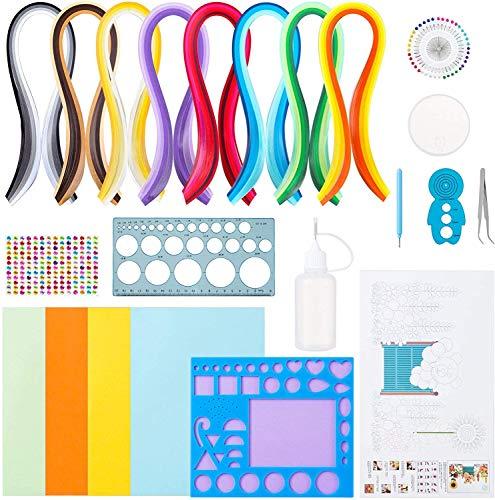 LEMESO 25 piezas Papel Quilling Kits, Tiras de Papel de Colores para Filigranas, Quilling Accessories