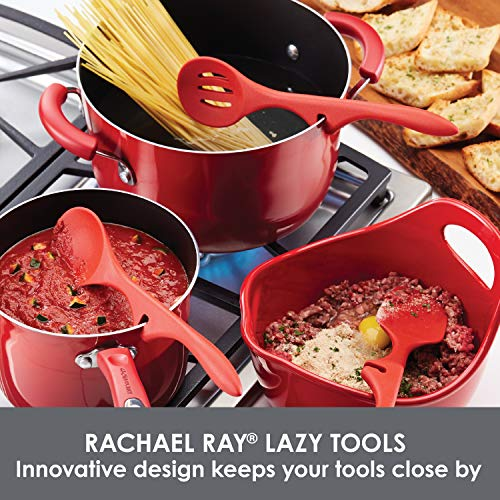Rachael Ray Kitchen Tools and Gadgets Nonstick Utensils/Lazy Spoonula, Solid and Slotted Spoon, 3 Piece, Red