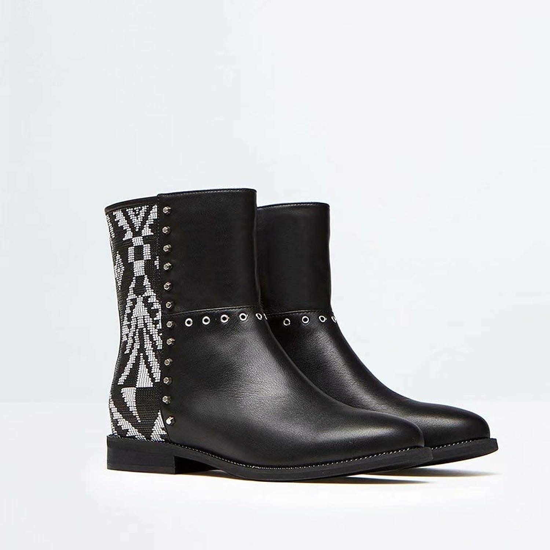 TK-schuhe Martin Stiefel Mode Schuhe Schuhe und Stiefeletten Beschlagene Stiefeletten Slip Schneeschuhe Winter SchwarzWeiß