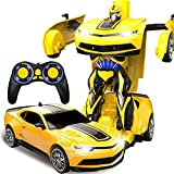 Kikioo Amarillo Cuerpo 1/12 Camaro Modelo Autobots ABS Transformer Truco Coche USB Inalámbrico RC Co...