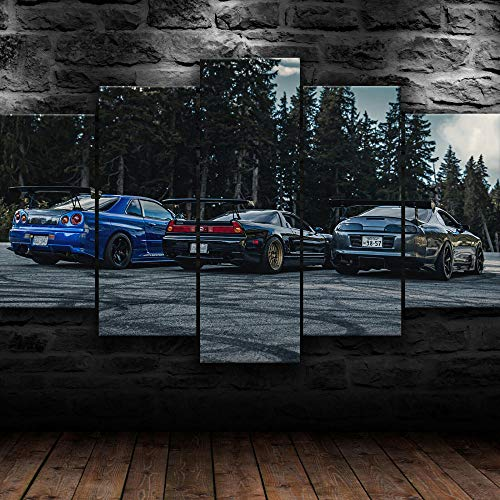 ADKMC 5 teiliger Kunstdruck auf Leinwand Skyline Supra NSX JDM Rennwagen Wandbild, Öl-Landschaftsbilder für zuhause, Moderne Dekoration für Wohnzimmer