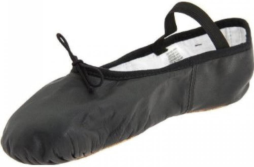 Body Wrappers 201C Childrens' Tiler Full Sole Leather Pleated Ballet Slipper (Black