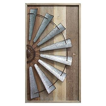 Stratton Home Décor S11547 Windmill Wall Décor 17.72 W X 1.77 D X 31.50 H Mixed Natural Wood Galvanized Metal Antique Bronze