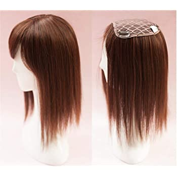 """14"""" Crown Topper Hairpieces with Side Bangs for Women, Synthetic Top Wiglet Hairpieces for Hair Loss Clip in, Light Brown, Thick Style"""