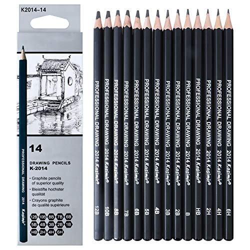 Professional Drawing Sketching Pencil Set - 14 Pieces Drawing Pencils 12B 10B, 8B, 7B, 6B, 5B, 4B, 3B, 2B, B, HB, 2H, 4H, 6H Graphite Pencils for Beginners & Pro Artists