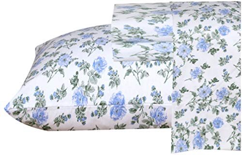 Ruvanti 100% Cotton 3 Pcs Flannel Sheets Twin - Deep Pocket, Floral Design , Warm, Super Soft & Breathable Twin Size Flannel Kids Bedding Sheets Set Include Flat Sheet, Fitted Sheet with 1 Pillow Case