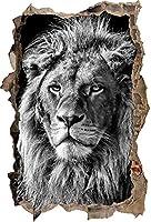 KAIASH ウォールステッカー 3Dルックの壁またはドアのステッカーの壁のステッカーの壁のステッカーの壁の装飾のモノクローム印象的なライオンの壁の開口部92x62cm