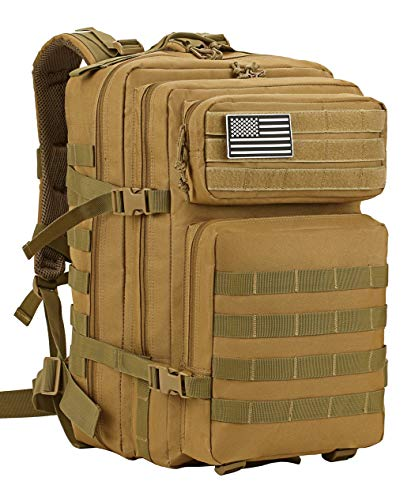 Luckin Packin Military Tactical Backpack Large Army 3 Day Assault Pack Molle Bag Backpacks 45 Liter Khaki